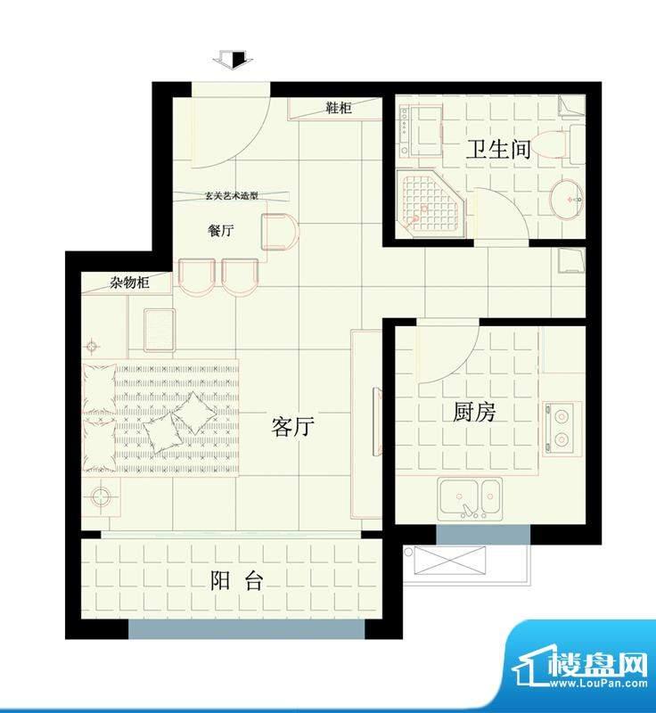西路时代大厦B户型图 1室2厅1卫面积:50.65平米