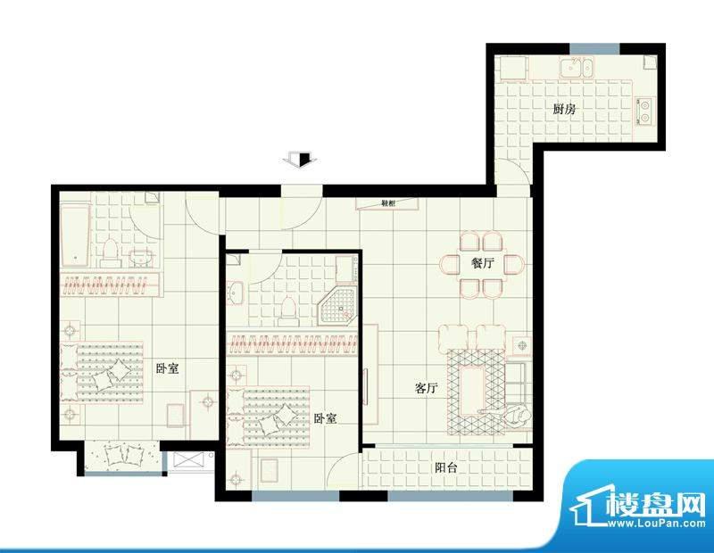 西路时代大厦D户型图 2室1厅1卫面积:114.14平米