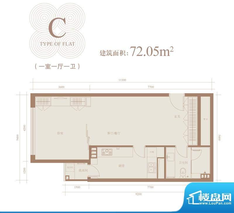 三元国际公寓C户型 1室1厅1卫1面积:72.05平米