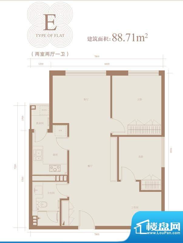 三元国际公寓E户型 2室2厅1卫1面积:88.71平米