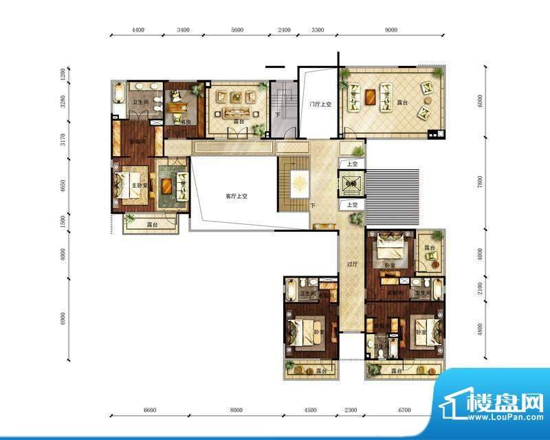 富力湾·半岛别墅B1二层户型图
