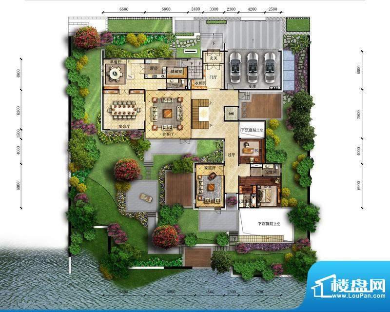 富力湾·半岛别墅B1一层户型图