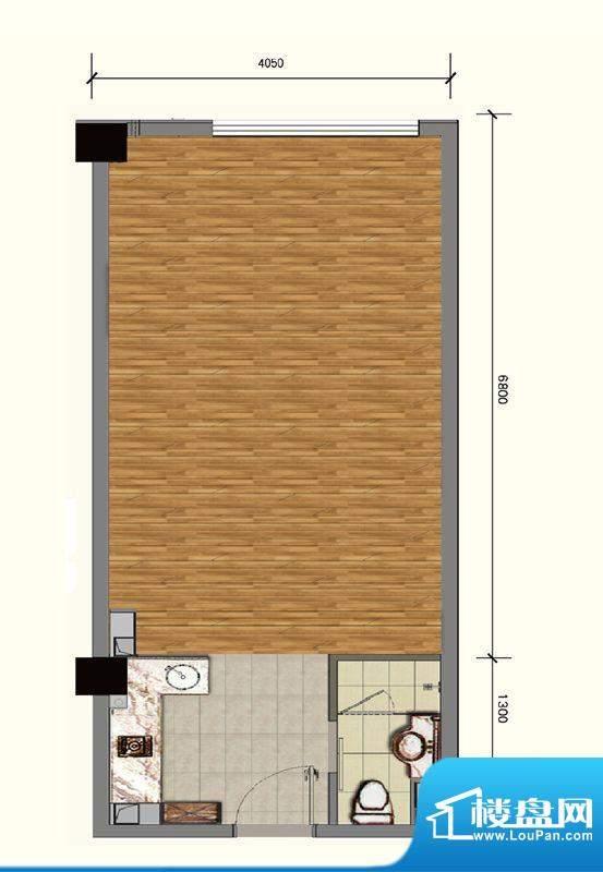 蓝光·云鼎A户型 1室1卫1厨面积:54.00平米