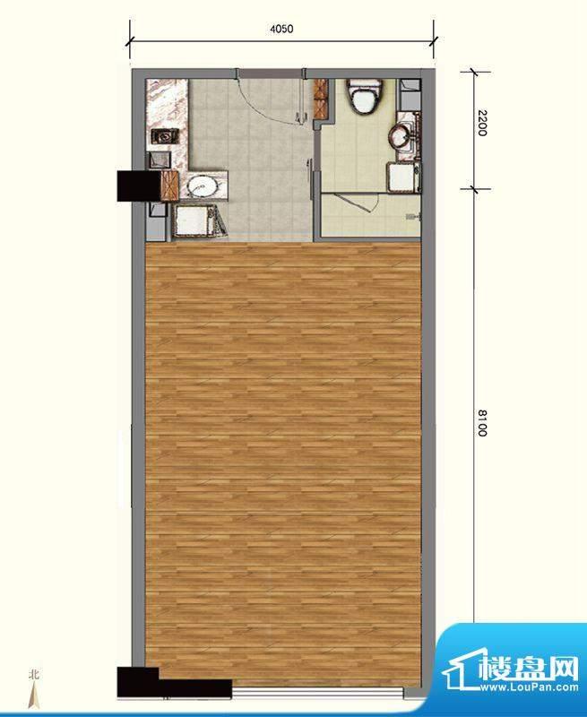 蓝光·云鼎b户型 1室1卫1厨面积:60.00平米