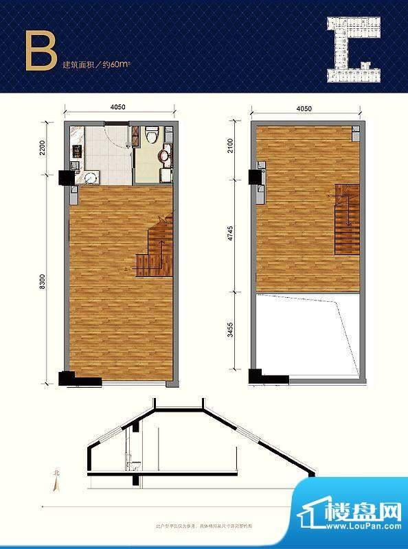 蓝光·云鼎B户型图 1室1卫1厨面积:60.00平米