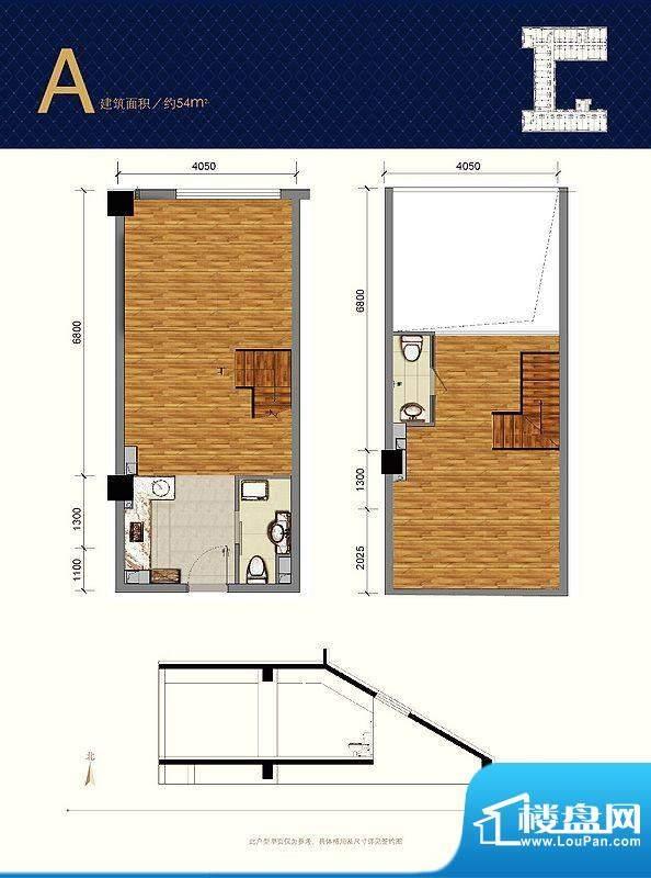 蓝光·云鼎A户型图 1室2卫1厨面积:54.00平米