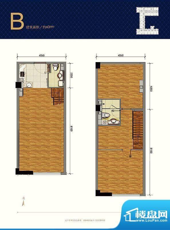 蓝光·云鼎B户型图 1室2卫1厨面积:60.00平米