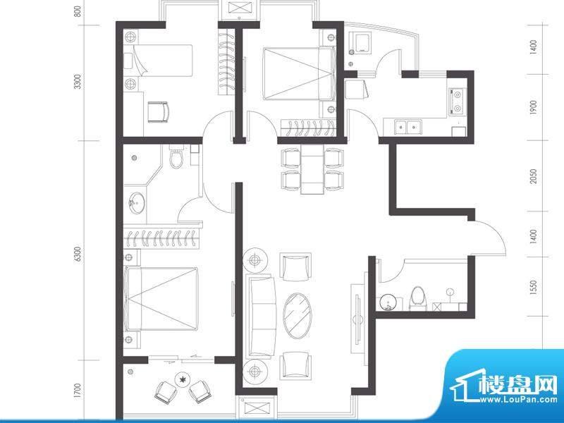 莱镇宁静湾A2户型 3室2厅2卫1厨面积:115.63平米