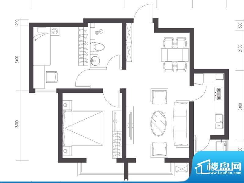 莱镇宁静湾B1户型 2室2厅1卫1厨面积:75.69平米