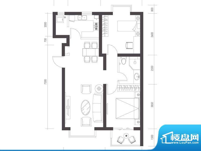 莱镇宁静湾B2户型 2室2厅1卫1厨面积:93.84平米