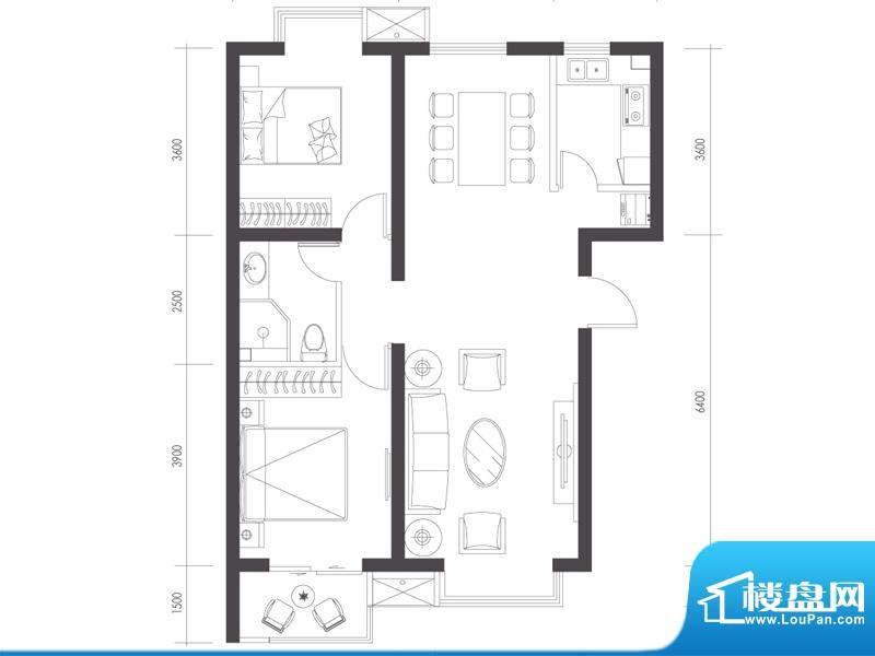 莱镇宁静湾B3户型 2室2厅1卫1厨面积:98.66平米