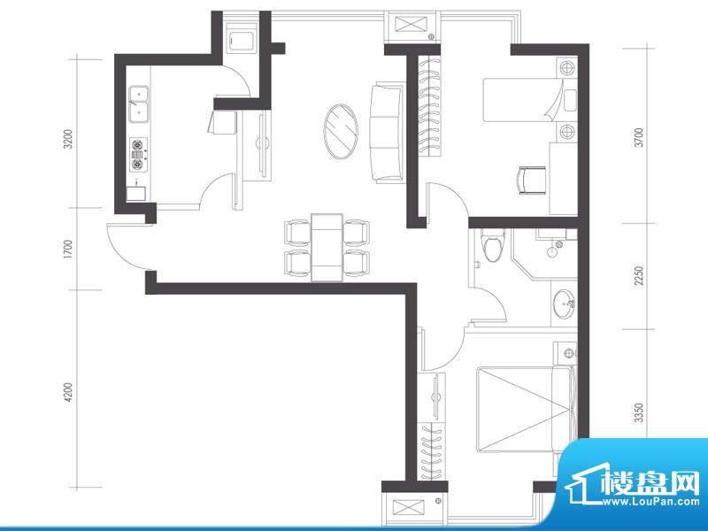 莱镇宁静湾B5户型 2室2厅1卫1厨面积:79.97平米