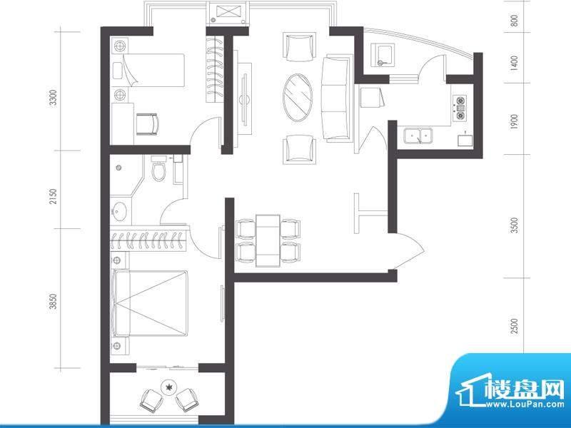 莱镇宁静湾B6户型 2室2厅1卫1厨面积:92.39平米