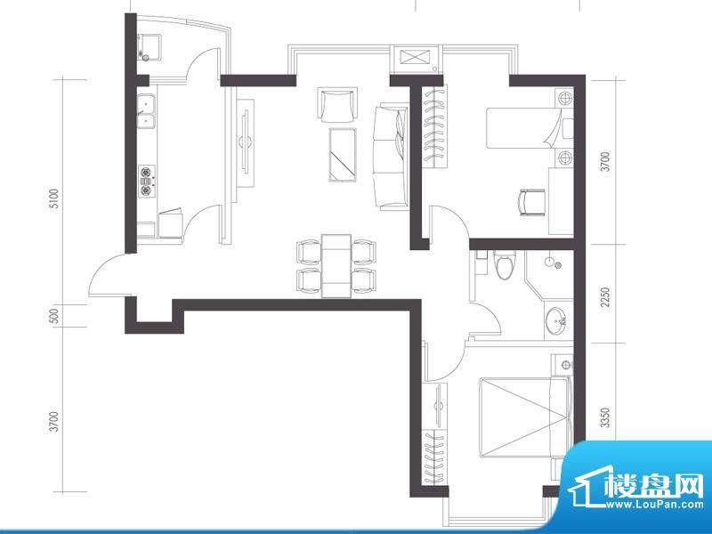 莱镇宁静湾B7户型 2室2厅1卫1厨面积:86.88平米