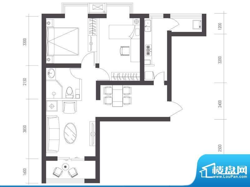 莱镇宁静湾B8户型 2室2厅1卫1厨面积:82.33平米