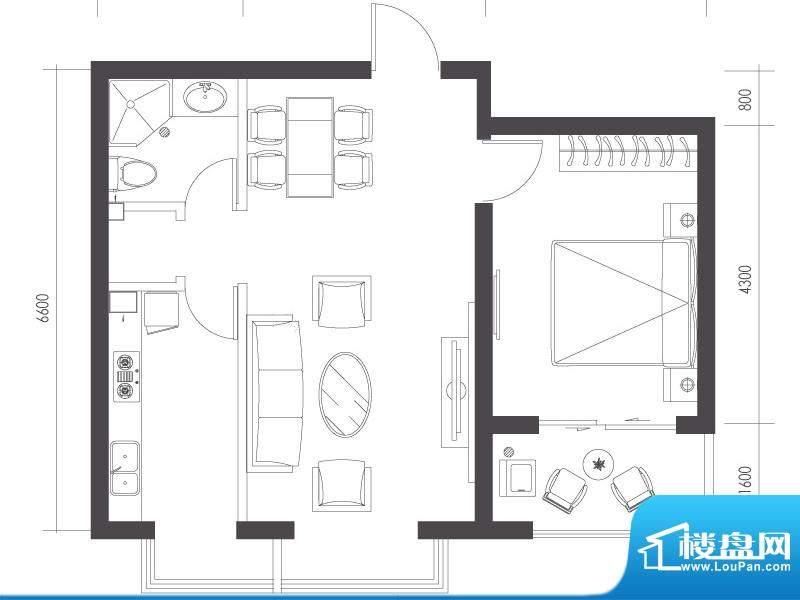 莱镇宁静湾C1户型 1室1厅1卫1厨面积:70.28平米
