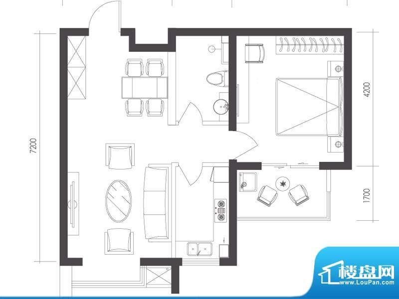 莱镇宁静湾C2户型 1室1厅1卫1厨面积:71.52平米