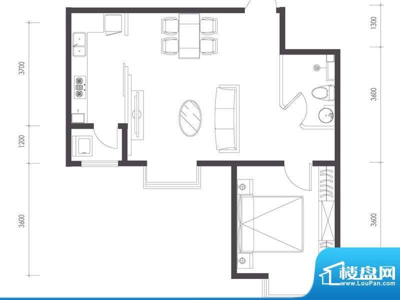 莱镇宁静湾C3户型 1室1厅1卫1厨面积:65.29平米
