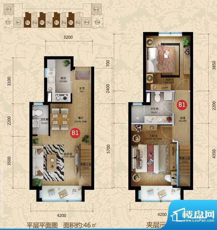 星河185B1户型图 2室2厅2卫1厨面积:46.00平米