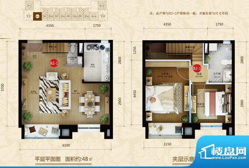 星河185B2-1户型图 2室2厅2卫1面积:48.00平米