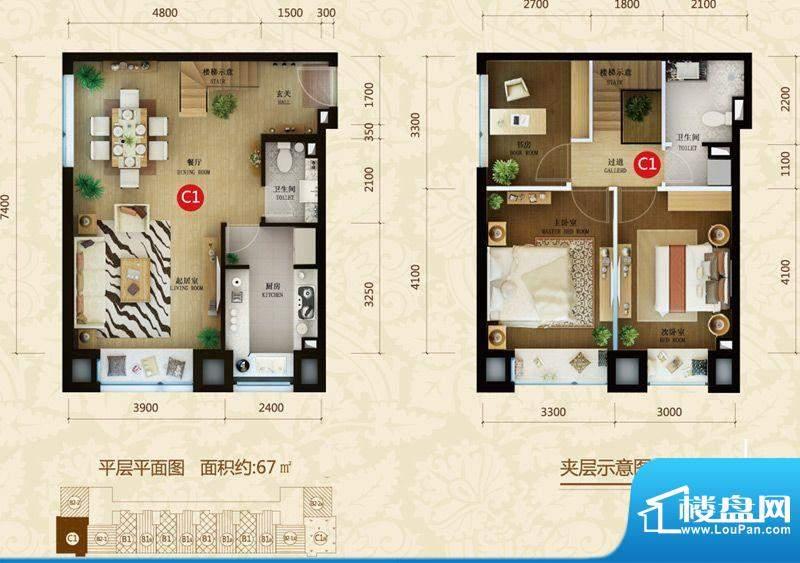 星河185C1户型图 3室2厅2卫1厨面积:67.00平米