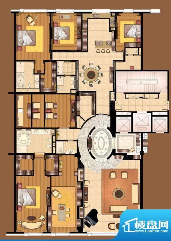 霞公府标准层北楼C户型4室2厅2面积:350.00平米