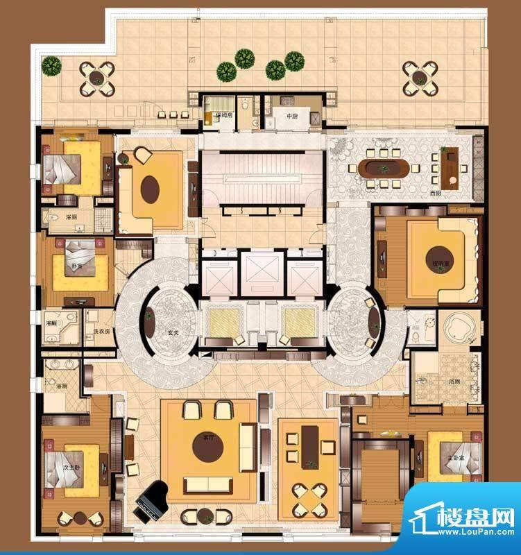 霞公府标准层北楼合并户型图5室