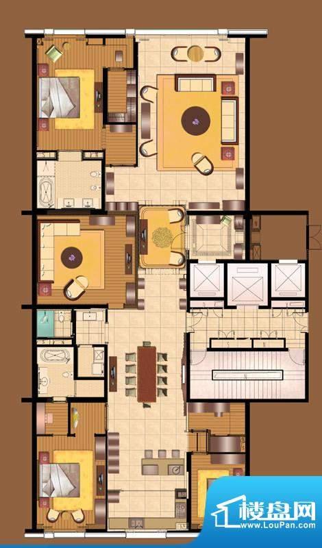 霞公府 标准层南楼A户型4室2厅面积:350.00平米