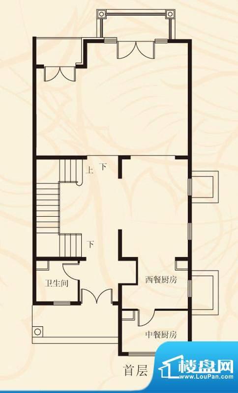 蝶泉花园联排首层 1室1卫1厨面积:373.59平米
