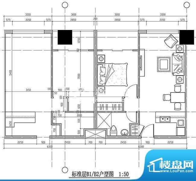 西贸国际·熙旺中心平面图 1室