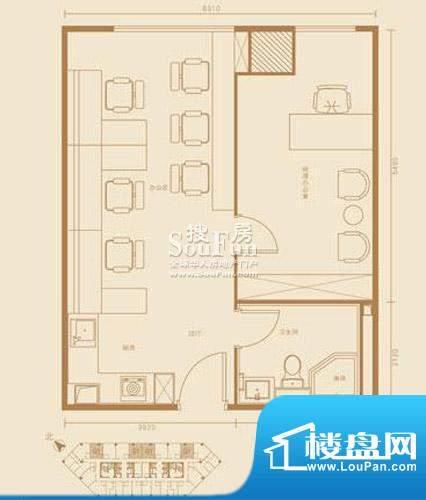 西贸国际·熙旺中心G1户型 1室面积:68.98平米
