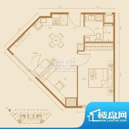 西贸国际·熙旺中心C户型 1室1面积:71.26平米