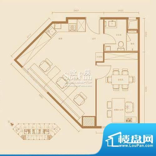 西贸国际·熙旺中心C户型办公 面积:71.26平米