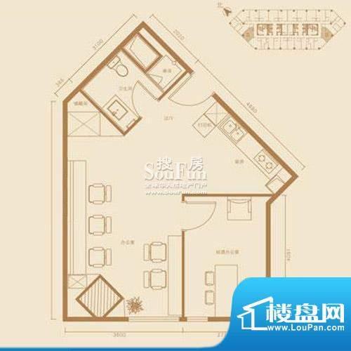 西贸国际·熙旺中心D户型 1室1面积:73.72平米