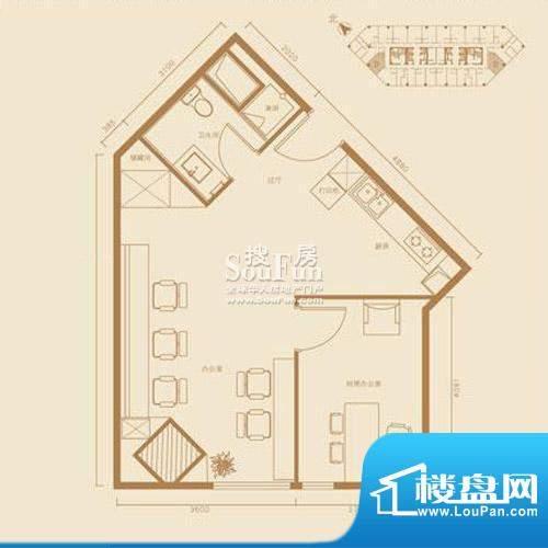 西贸国际·熙旺中心D户型办公 面积:73.72平米