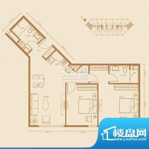 西贸国际·熙旺中心E户型 2室2面积:121.72平米