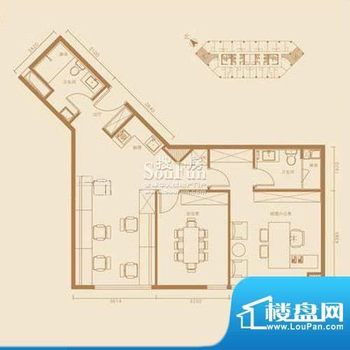 西贸国际·熙旺中心E户型办公 面积:121.72平米
