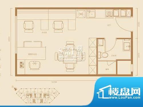 西贸国际·熙旺中心A1户型 1室面积:48.70平米