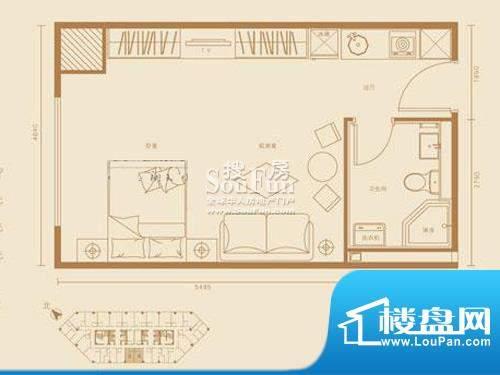 西贸国际·熙旺中心A户型 1室1面积:50.81平米