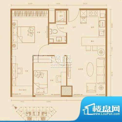 西贸国际·熙旺中心B户型 3室1面积:91.96平米