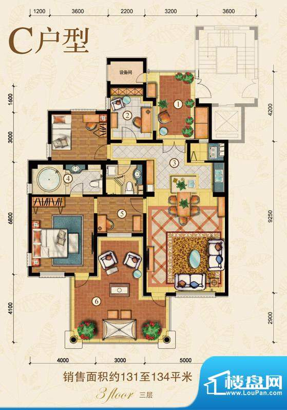 海阔·水岸花墅C户型 3室2厅2卫面积:131.00平米