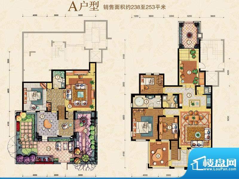 海阔·水岸花墅A户型 4室2厅3卫面积:238.00平米