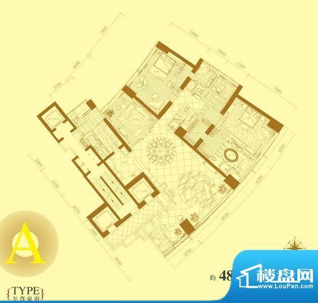 长安8号A户型 3室2厅5卫1厨面积:480.00平米
