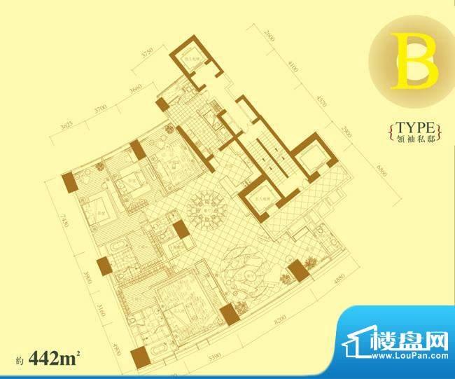 长安8号B户型 4室2厅5卫1厨面积:442.00平米