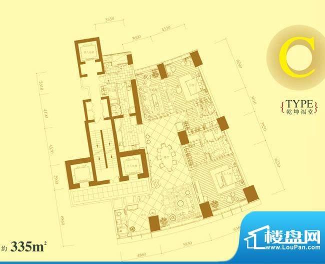 长安8号C户型 3室4厅4卫1厨面积:335.00平米