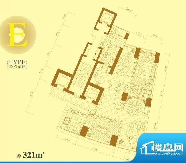 长安8号E户型 3室2厅4卫1厨面积:321.00平米