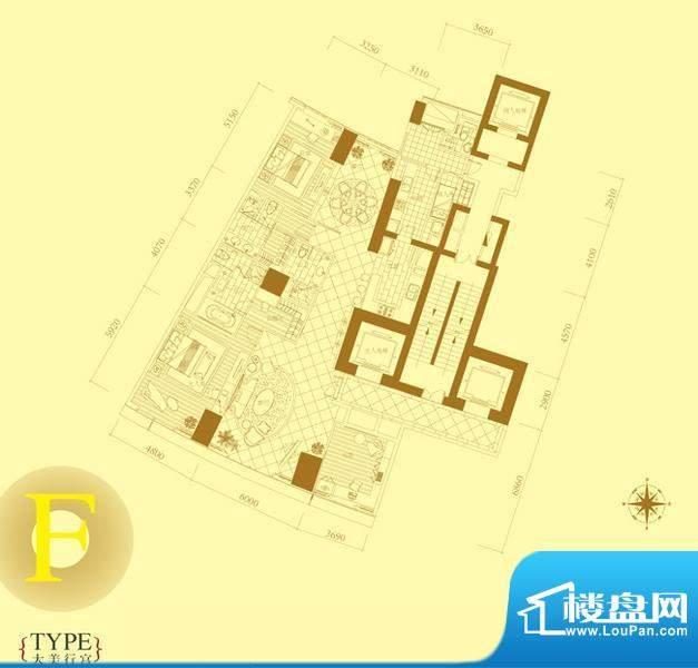 长安8号F户型 3室2厅4卫1厨面积:278.00平米