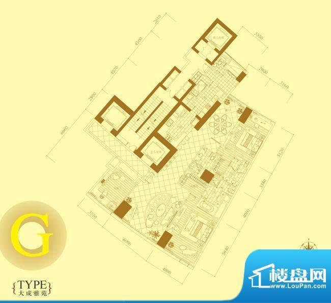 长安8号G户型 3室2厅4卫1厨面积:268.00平米