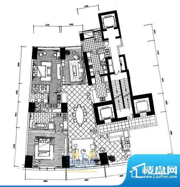 长安8号D7-39层(不含20层、37层面积:345.36平米