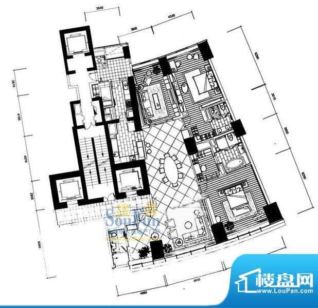 长安8号C7-39层(不含20层、37层面积:332.60平米